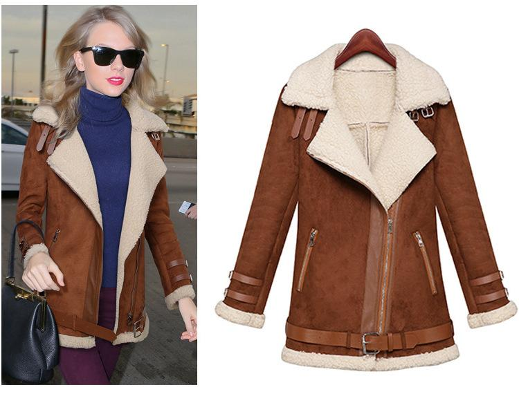 Winter Woman Suede Jackets Long Designer Shearling Coats Biker Warm