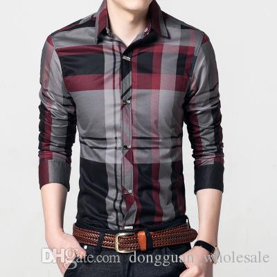 2018 Men Plaid Shirts Men'S Casual Shirt Slim Fit Chemise Homme Long