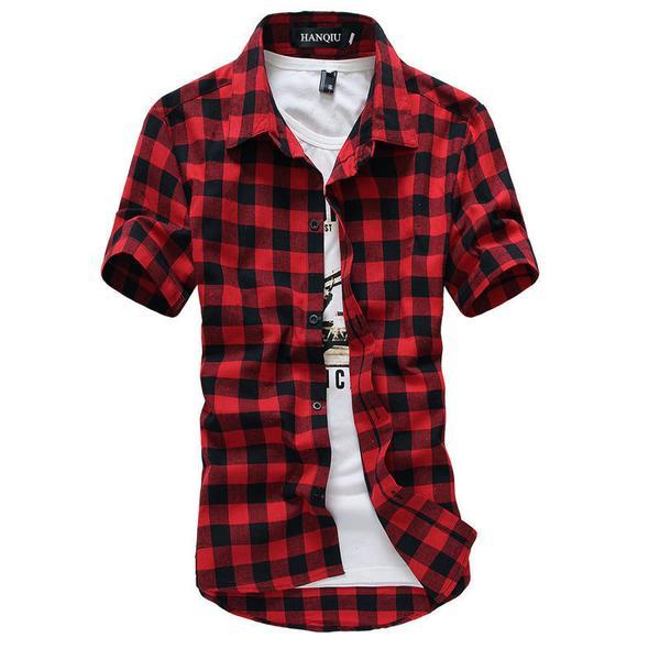 Red And Black Plaid Shirt Men Shirts New Summer Fashion Chemise