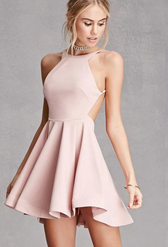 Simple Short Homecoming Dress,Stain Prom Gown for women,Backless