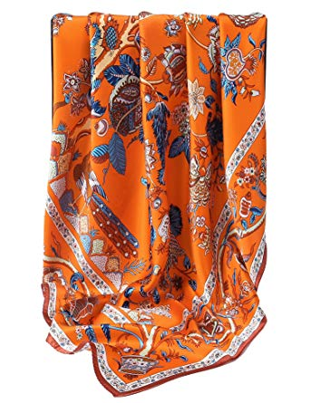 Grace Scarves 100% Silk Scarf, Extra-Large, Beanstalk, Orange at