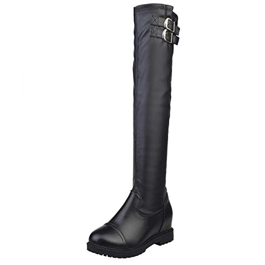 Amazon.com: Women's Knee High Buckle Stretch Boots, NDGDA Leather