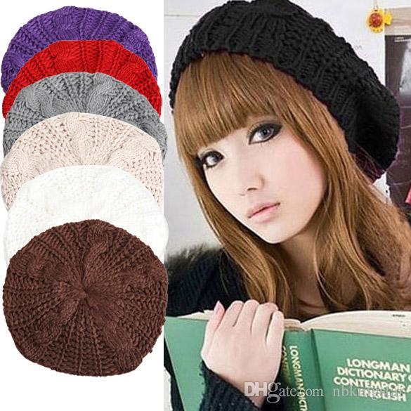 Winter Fashion Women Knitted Berets Hat Stylish Female Warm Beanie