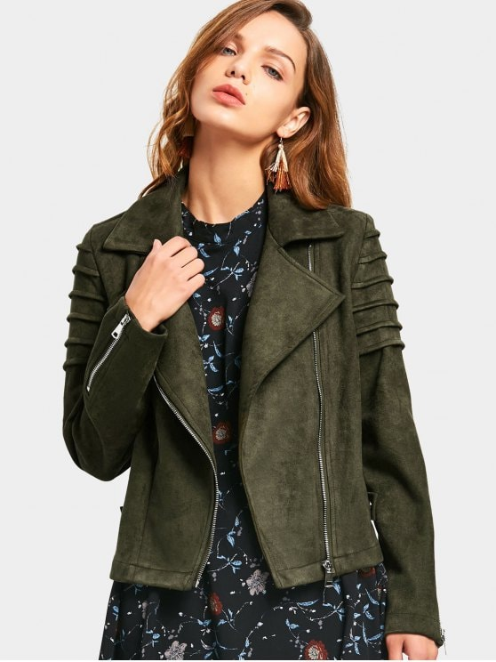 34% OFF] 2019 Faux Suede Zip Up Jacket In ARMY GREEN S   ZAFUL