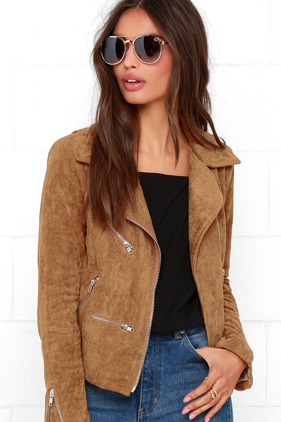 Suede Jacket - Moto Jacket - Tan Jacket