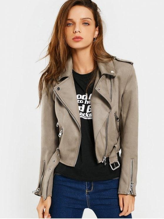 2019 Asymmetric Zipper Belted Faux Suede Jacket In CAMEL L   ZAFUL