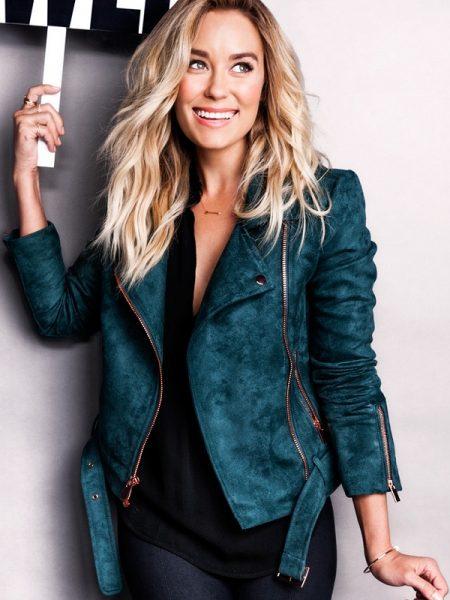 Stylish Lauren Conrad Green Suede leather Blue Jacket