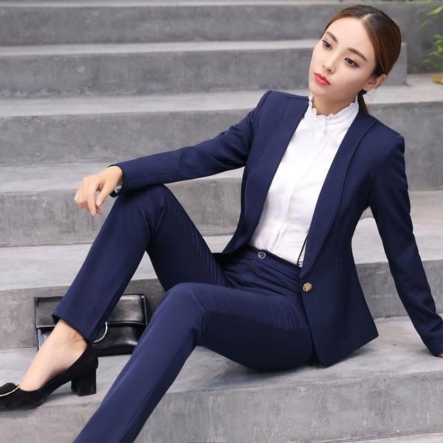 Plus Size S 4XL Ladies Pant Suits For Women Autumn Fashion Slim