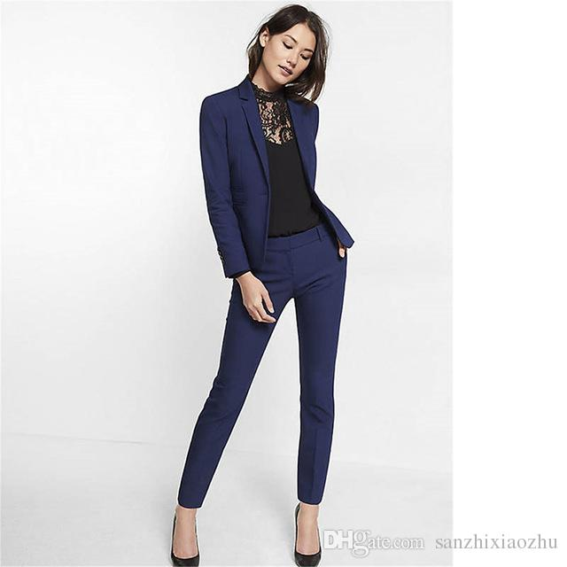 Navy Blue Womens Suit Slim Fit Women Tuxedos Shawl Lapel Suits For
