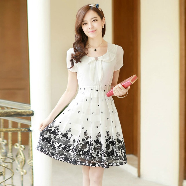 Women Summer White Lace Chiffon Dress Ladies Summer Dresses Casual