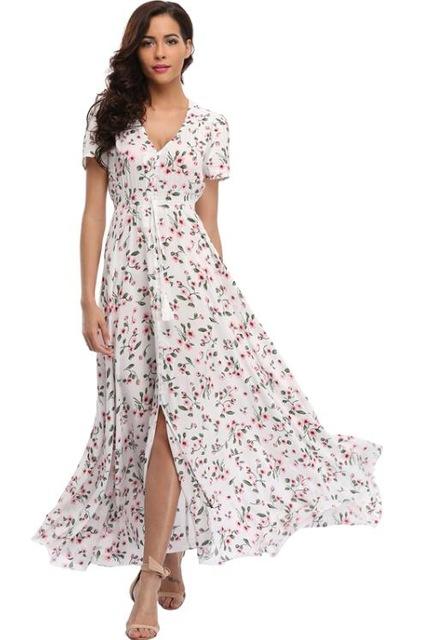 2018 Long Summer Floral Maxi Dress Women Flower Print Casual Split