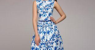 S.FLAVOR Women Summer Dress 2018 Hot sale blue printing sleeveless