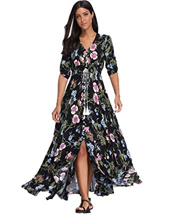 Amazon.com: BestWendding Summer Floral Print Maxi Dress Women Button
