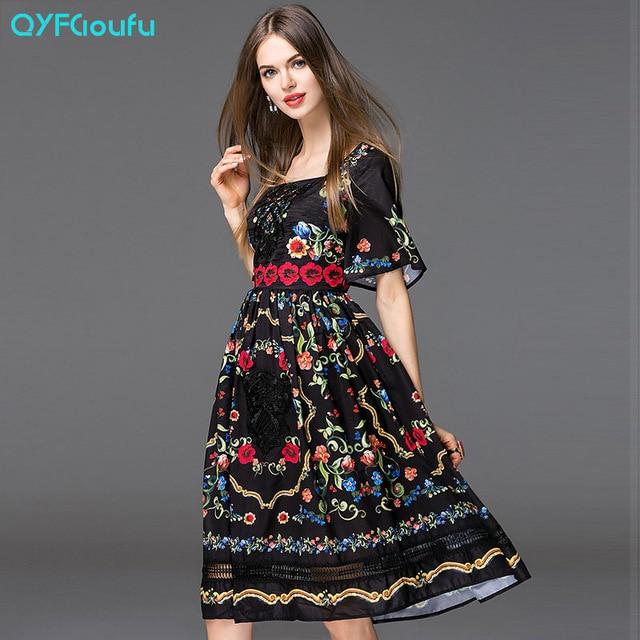 QYFCIOUFU Fashion Runway 2018 Summer Dress Women's Short Sleeves