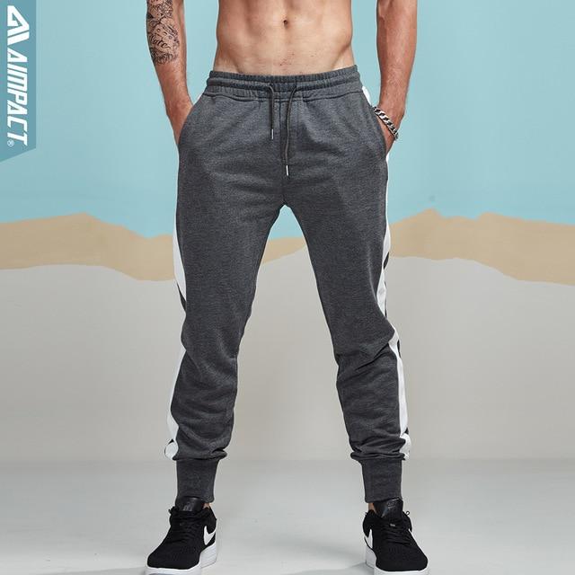 Aimpact 2018 New Jogger Pants Men Cotton Striped Patchwork