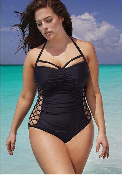 2016 Plus Size Swimwear One Piece Solid Color Halter XL- 2XL-3XL