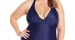 Amazon.com: Coastal Blue Women's Plus Size Swimwear Wrap Halter One