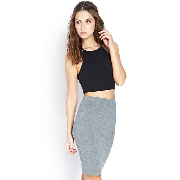 Forever 21 Skirts | Midi Knee Length Bodycon Stretchy Tight Skirt