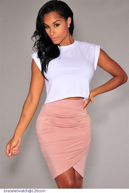 Womens Sexy Tight Skirts Pink/Green/Black Draped Knee Length Skirt