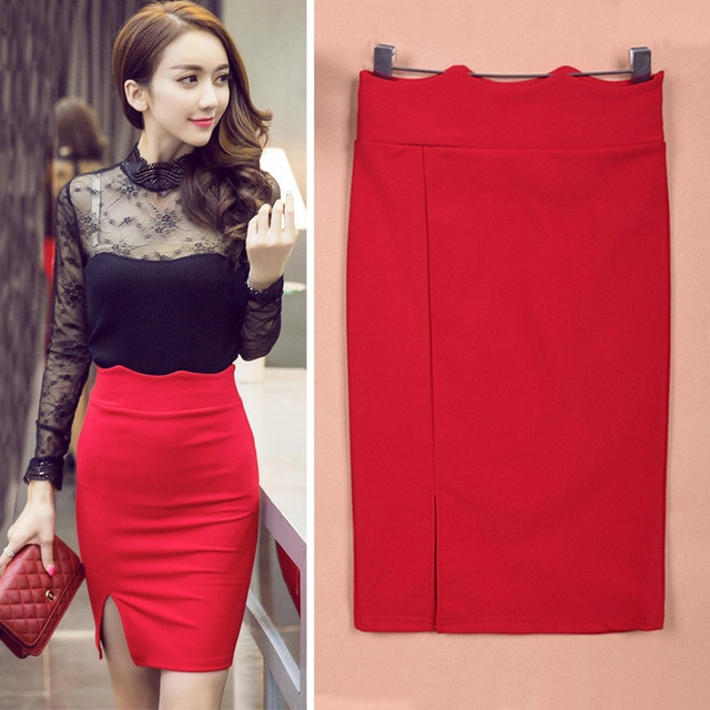 TingYiLi High Waist Pencil Skirt Women Bodycon Tight Skirt Black Red