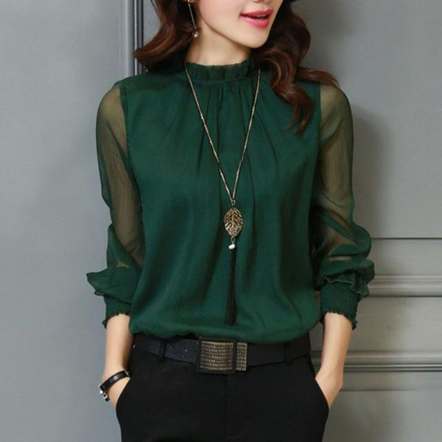 Spring Autumn Tops Women Office Mesh Chiffon Shirt Casual Long
