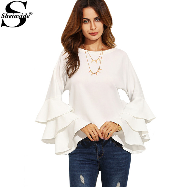 Sheinside White Round Neck Ruffle Long Sleeve Shirt Ladies Work Wear