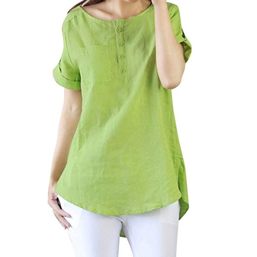 Clearance T-Shirts Women chaofanjiancai Short Sleeve Cotton Tops