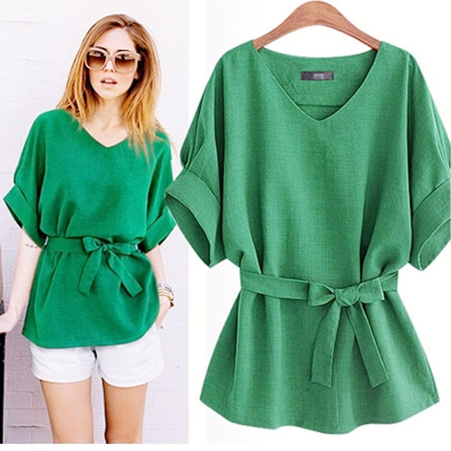 2018 New Sale Ladies Blouse Summer Women Cotton Linen Tunic Shirt V