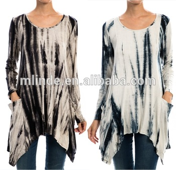 Plus Size Dye Print Pockets Tunic Top,Women Tiedye Pockets Tops