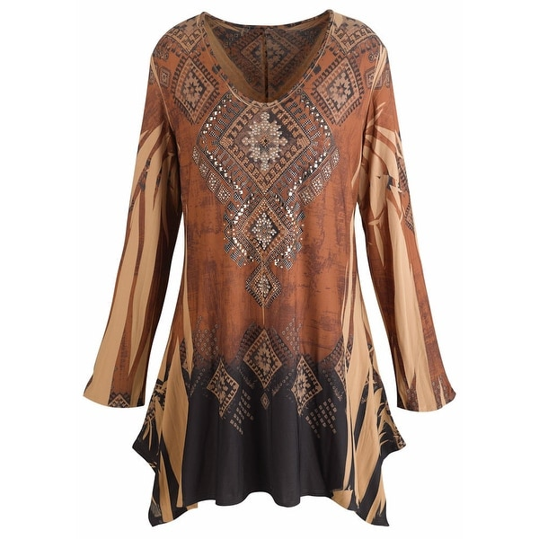 Shop Women's Tunic Top - Mountain Spirit Vintage Pattern Brown Shirt