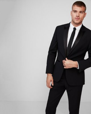 Classic Black Performance Stretch Wool Blend Tuxedo Jacket | Express