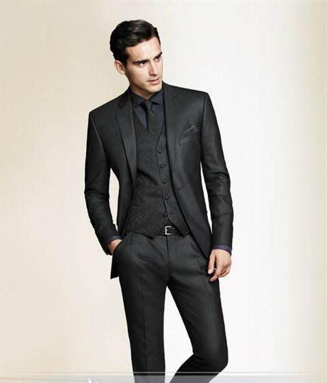 Black Slim Fit Custom Made Men Tuxedo Wedding Suits For Men