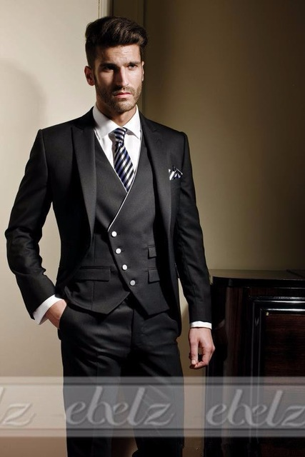jacket+pants+vest) 3 Piece Men Suits Wedding Groom Tuxedos Mens Tux