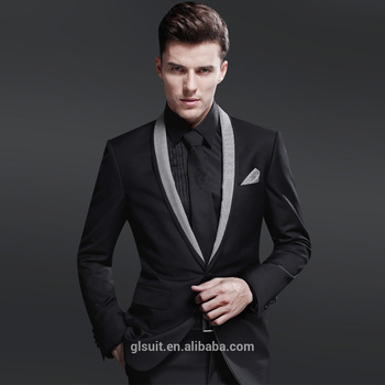 70% Wool One Button Shawl Lapel Black Unique Wedding Tuxedos For Men