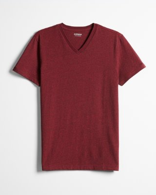 Heathered Slim Stretch Cotton V-neck Tee | Express