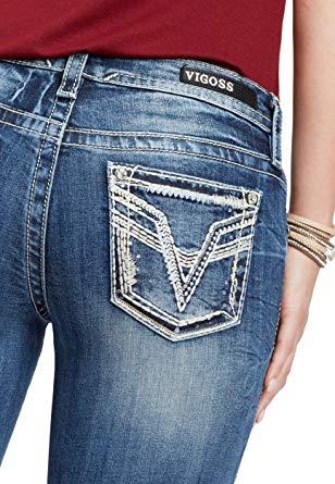 maurices Women's Vigoss Taupe Stitch Slim Boot Jean at Amazon