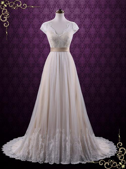 Vintage Lace Wedding Dress with Cap Sleeves | Linden u2013 ieie