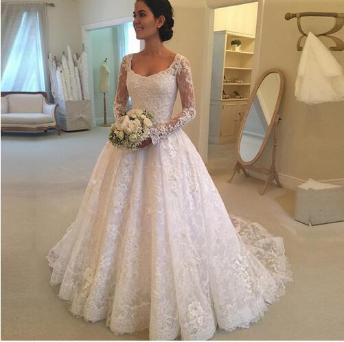 Luxury Lace Wedding Dresses,A Line Vintage Lace Wedding Dresses Long