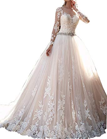 Kevins Bridal Vintage Lace Wedding Dresses 2017 Long Sleeves Beaded