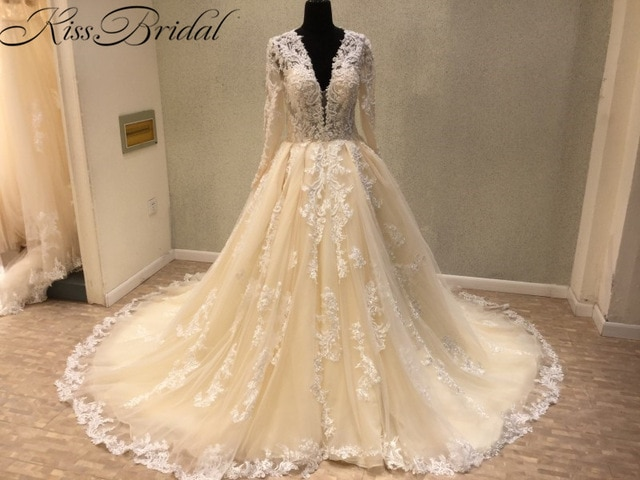 New Trend 2018 Luxury Wedding Dresses A line Light Champagne Vintage