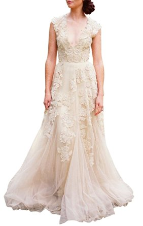 ASA Bridal Women's Vintage Cap Sleeve Lace Wedding Dress A Line