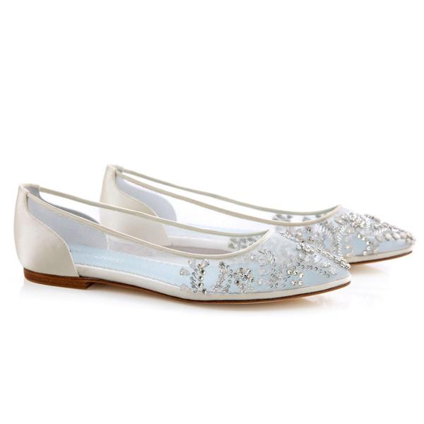 Willow Luxury Jewel Ivory Cinderella Wedding Flats | Bella Belle Shoes