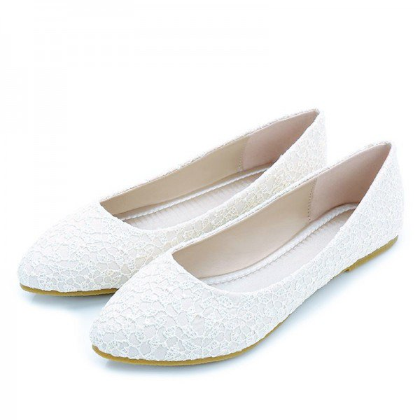 White Wedding Flats Lace Comfortable Shoes for Bridesmaid for