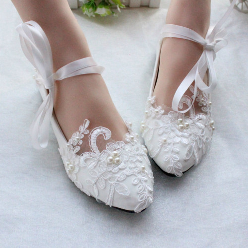 White/Ivory Wedding Shoes,Lace Dance Shoes,Bridal Flats,Wedding