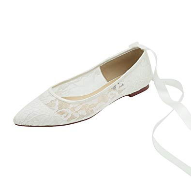 Amazon.com | ERIJUNOR Women Wedding Flats Pointed Toe Ribbon Tie