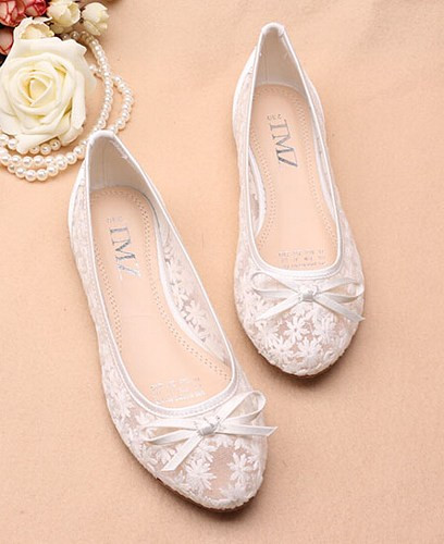 Ivory See Through Lace flats Shoes,Lace Bridal Flats,Wedding Flats