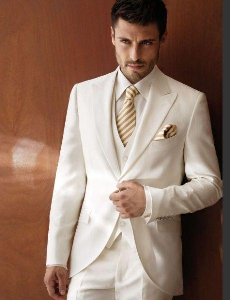 Custom Ivory Wedding Suits For Men Tuxedos Peaked Lapel Groomsmen
