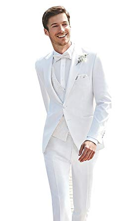 JYDress Mens 3 Piece White Wedding Suits Peak Lapel 2 Button Groom