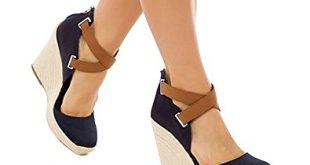 Amazon.com | Ferbia Wedges Shoes for Women Espadrilles Heels Ankle