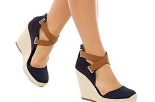 Amazon.com | Ferbia Wedges Shoes for Women Espadrilles Heels Ankle